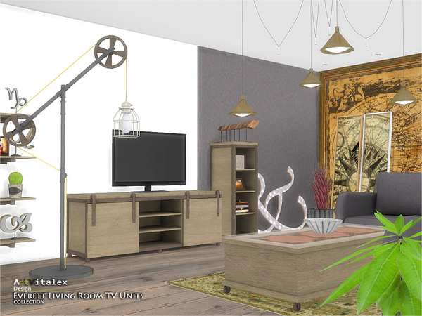 Everett Living Room TV Units by ArtVitalex at TSR image 1731 Sims 4 Updates