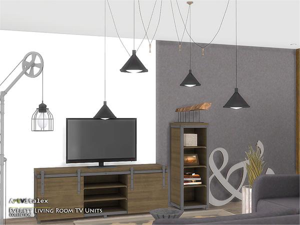 Everett Living Room TV Units by ArtVitalex at TSR image 1741 Sims 4 Updates