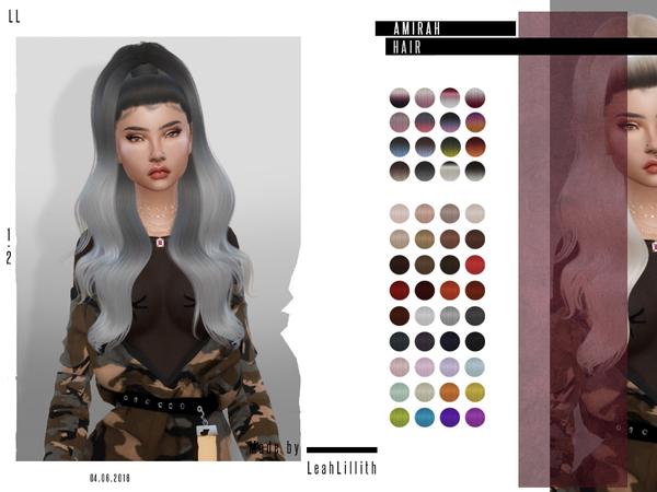 Sims 4 Amirah Hair by LeahLillith at TSR