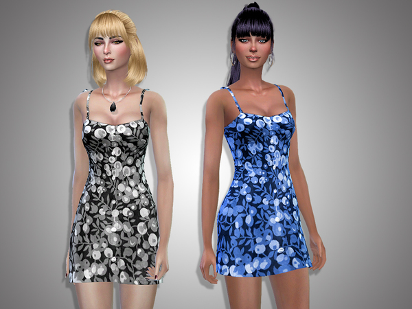 Sims 4 Irina flowered dress by Simalicious at TSR