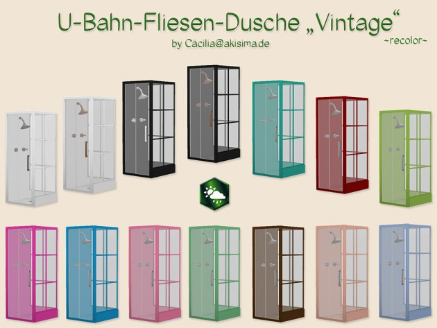 Subway Tile Shower Vintage recolor by Cacilia at Akisima image 1845 Sims 4 Updates