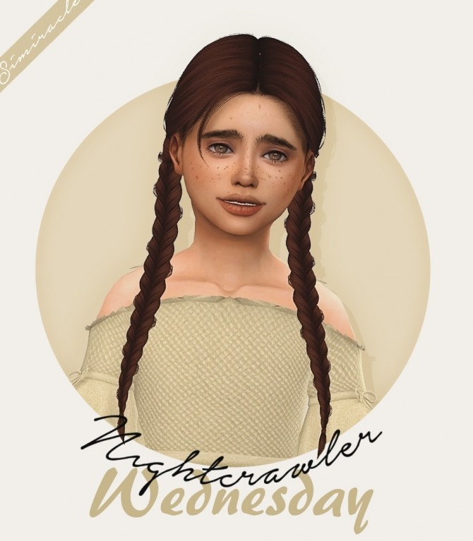 Sims 4 Nightcrawler Wednesday Hair Kids Version at Simiracle