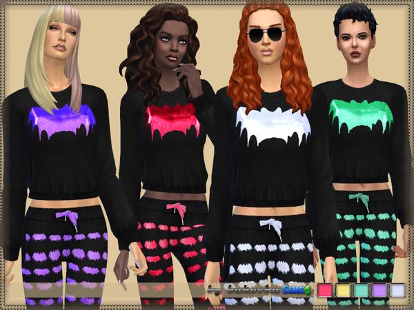 Sims 4 Set Bat sweater and pants by bukovka at TSR