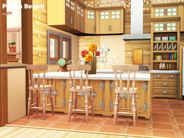 Sims 4 Peach Beach house by Pralinesims at TSR