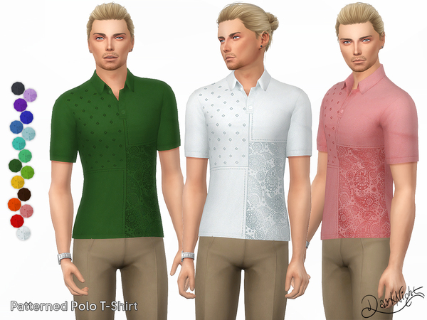 Patterned Polo T Shirt by DarkNighTt at TSR image 2010 Sims 4 Updates