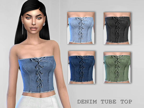 Denim Tube Top by Puresim at TSR image 2014 Sims 4 Updates