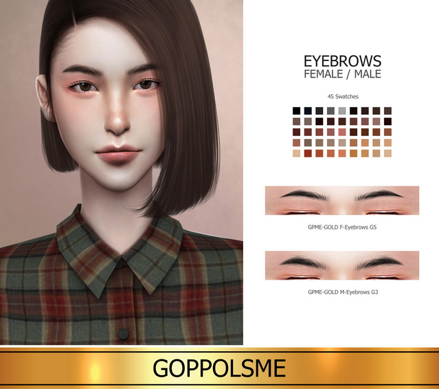 GPME GOLD F G5 / M G3 eyebrows (P) at GOPPOLS Me image 2019 Sims 4 Updates