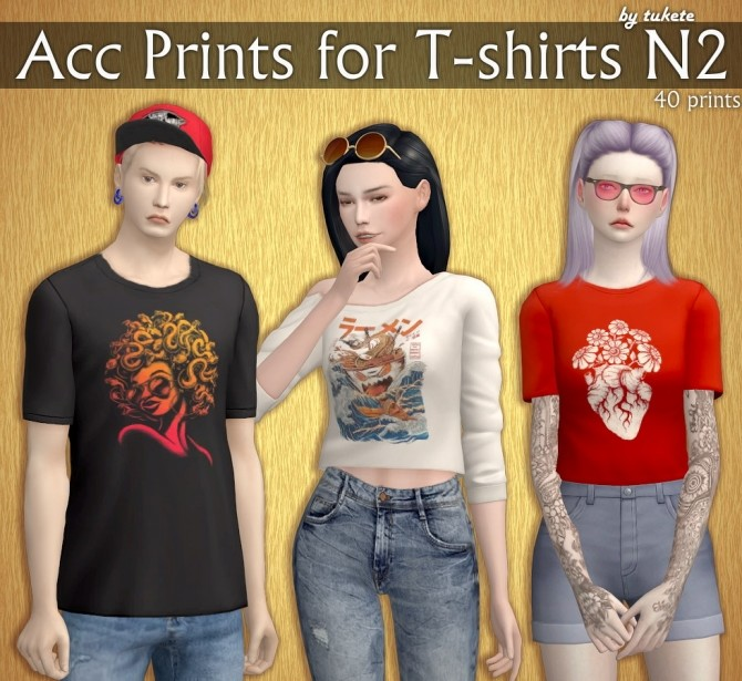 Acc Prints for T shirts Part 2 at Tukete image 2062 670x615 Sims 4 Updates