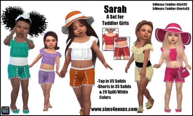Sims 4 Sarah top & shorts for little girls by SamanthaGump at Sims 4 Nexus