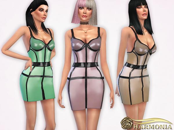 Sims 4 Pearl sheen Latex Cage Dress by Harmonia at TSR