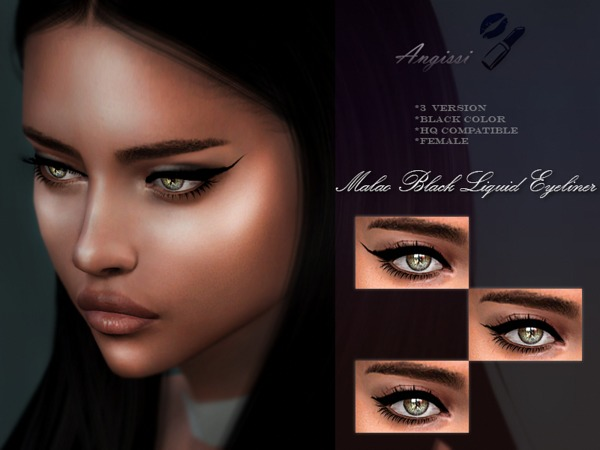 Sims 4 Maliao Black Liquid Eyeliner by ANGISSI at TSR