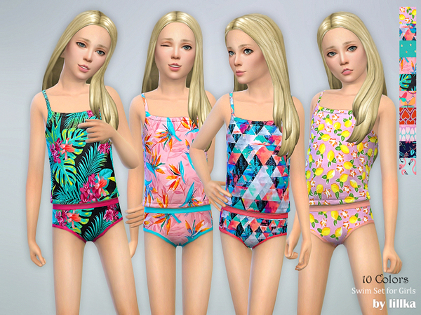 Sims 4 Swim Set for Girls by lillka at TSR