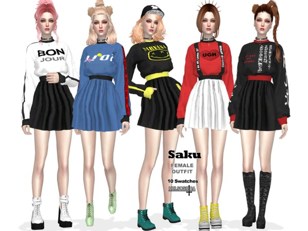 Sims 4 SAKU Outfit by Helsoseira at TSR