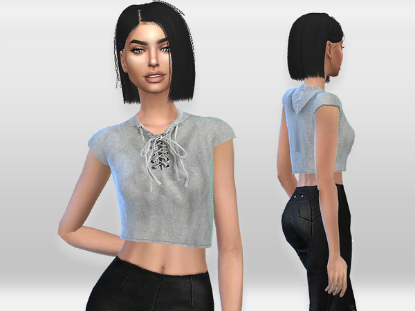 Grey Crop Top by Puresim at TSR image 2326 Sims 4 Updates