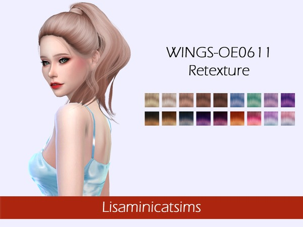 Sims 4 WINGS OE0611 Hair Retexture by Lisaminicatsims at TSR