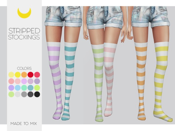 Sims 4 Stockings Stripped (Both) Made to Mix by Kalewa a at TSR