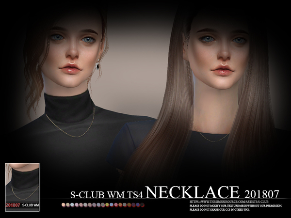 Sims 4 Necklace F 201807 by S Club WM at TSR