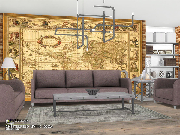 Chesterfield Living Room by ArtVitalex at TSR image 243 Sims 4 Updates