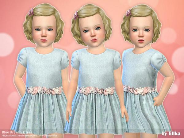 Sims 4 Blue Dreamy Dress by lillka at TSR