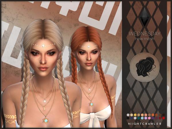Sims 4 Wednesday hair by Nightcrawler at TSR