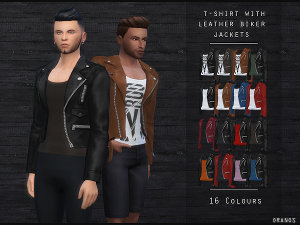 Sims 4 T Shirt With Leather Biker Jacket by OranosTR at TSR