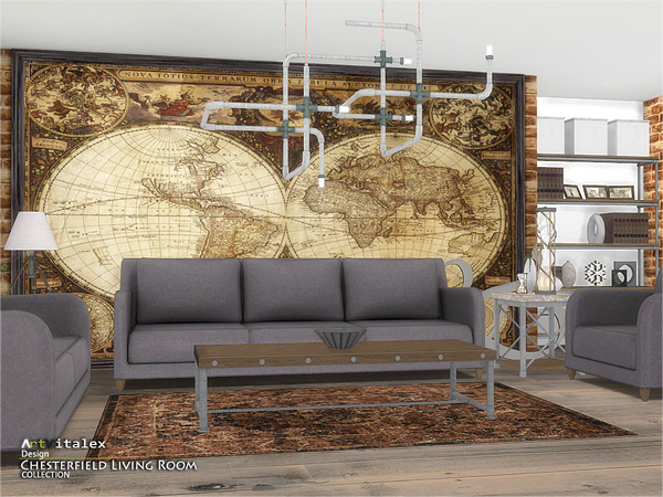 Chesterfield Living Room by ArtVitalex at TSR image 254 Sims 4 Updates