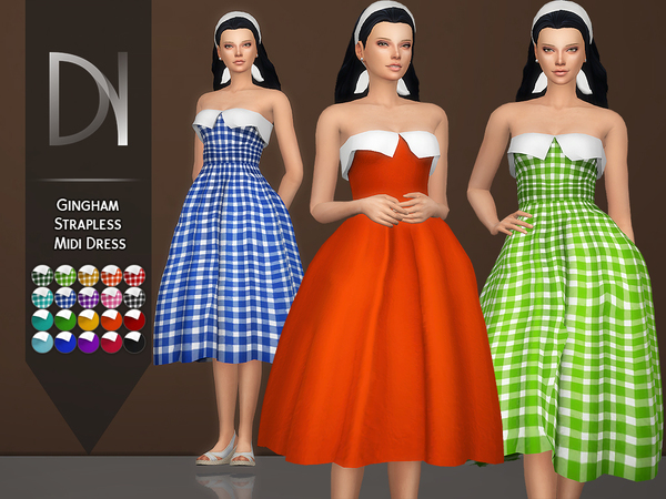 Gingham Strapless Midi Dress by DarkNighTt at TSR image 2601 Sims 4 Updates