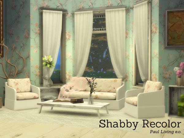 Sims 4 Shabby Chic Pauls Living by Angela at TSR