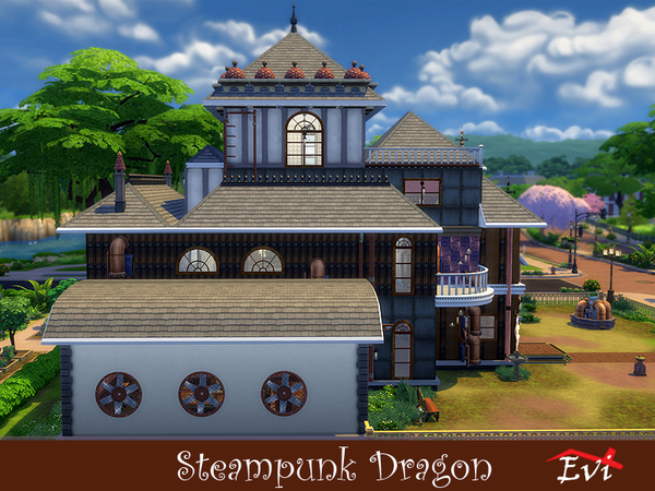 Sims 4 Steampunk Dragon house by evi at TSR