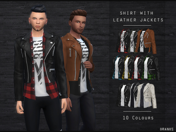 Sims 4 Shirt With Leather Jackets by OranosTR at TSR