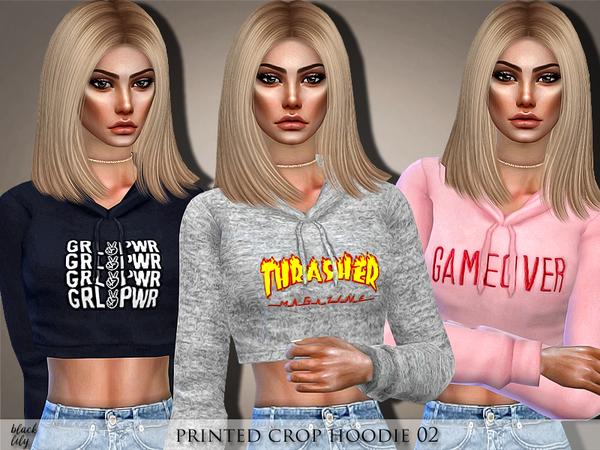 Sims 4 Printed Crop Hoodie 02 by Black Lily at TSR