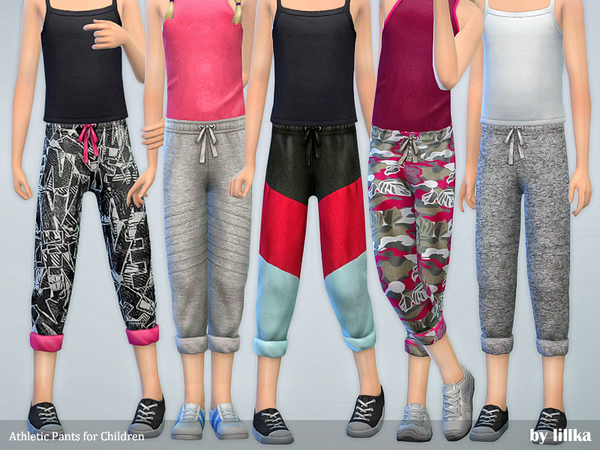 Sims 4 Athletic Pants for Children by lillka at TSR