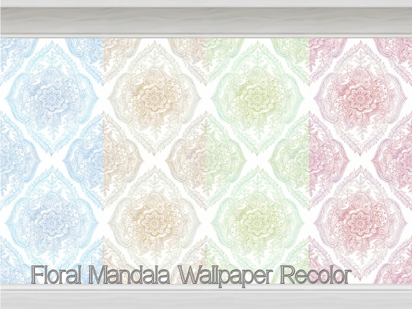Floral Mandala Wallpaper Recolor by Beatrice e at TSR image 3211 Sims 4 Updates