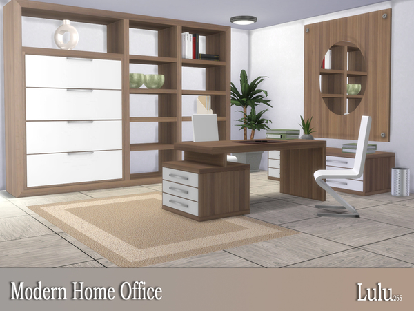 Modern Home Office by Lulu265 at TSR image 3217 Sims 4 Updates