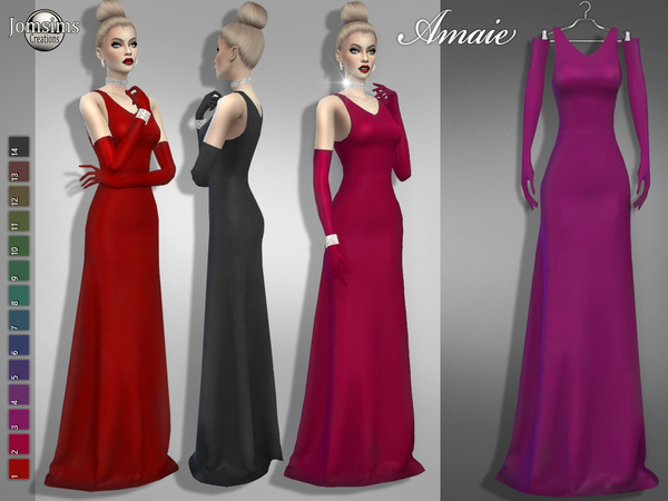 Sims 4 Amaie dress by jomsims at TSR