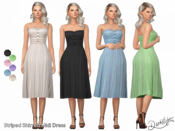 Striped Shirred Midi Dress by DarkNighTt at TSR image 35 Sims 4 Updates
