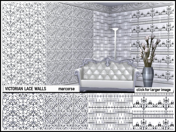 Victorian Lace Walls by marcorse at TSR image 350 Sims 4 Updates