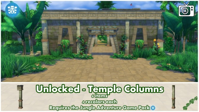 Unlocked Temple Columns Jungle Adventure by Bakie at Mod The Sims image 361 670x377 Sims 4 Updates