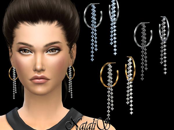 Crystal fringe drop hoop earrings by NataliS at TSR image 369 Sims 4 Updates