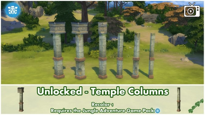 Unlocked Temple Columns Jungle Adventure by Bakie at Mod The Sims image 371 670x377 Sims 4 Updates