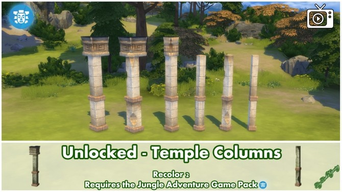 Unlocked Temple Columns Jungle Adventure by Bakie at Mod The Sims image 381 670x377 Sims 4 Updates