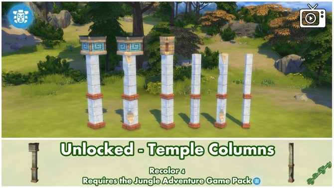 Unlocked Temple Columns Jungle Adventure by Bakie at Mod The Sims image 391 670x377 Sims 4 Updates