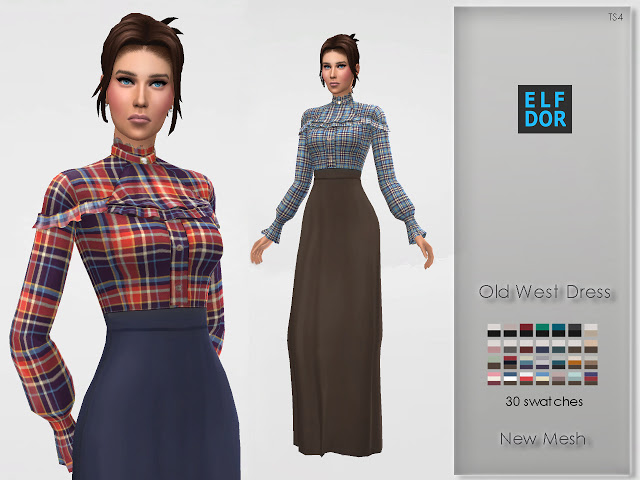 Sims 4 Old West Dress at Elfdor Sims