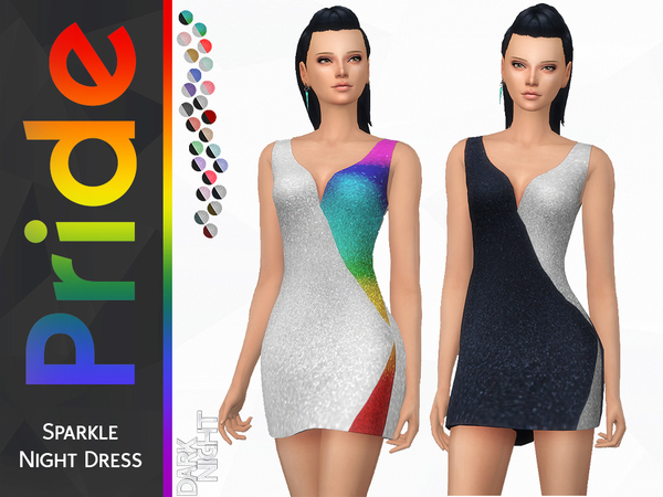 Pride Collection Sparkle Night Dress by DarkNighTt at TSR image 4113 Sims 4 Updates