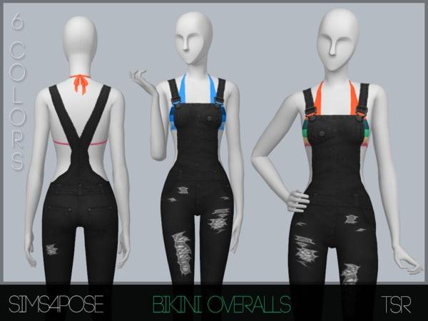 Sims 4 Bikini Overalls by Sims4Pose at TSR