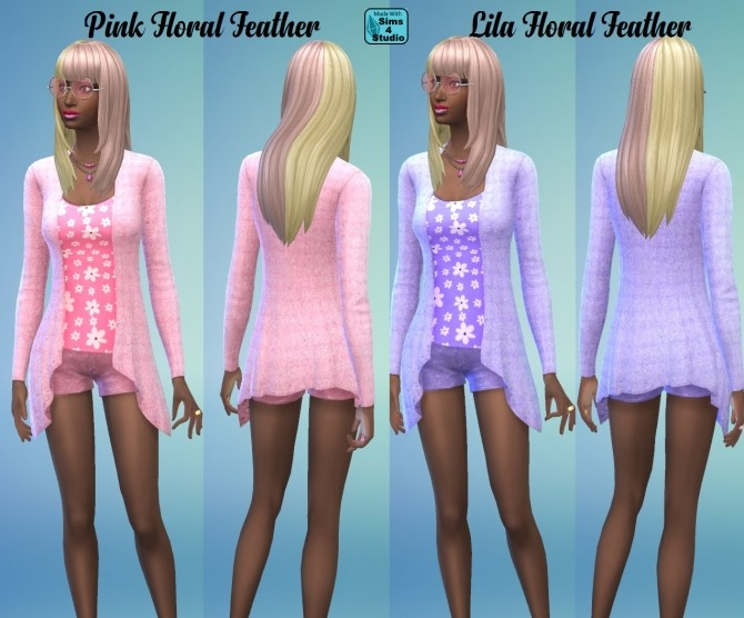 Sims 4 Long Drape Cardigan Floral and feathers by wendy35pearly at Mod The Sims