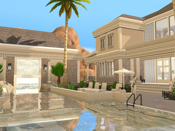 Sims 4 Mediterranean Luxury Estate by pinoe at TSR