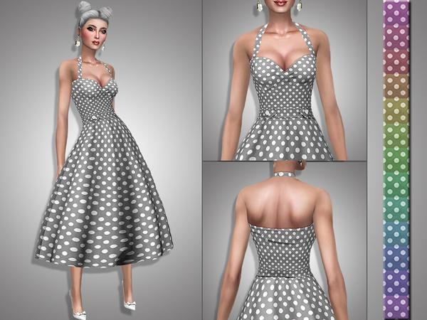 Sims 4 Verna retro dress by Simalicious at TSR