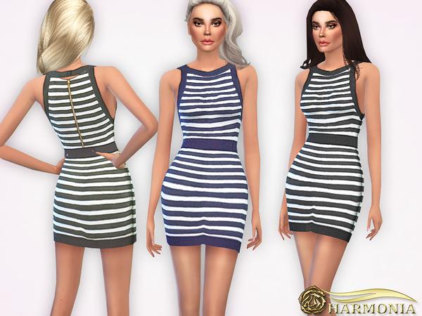Sims 4 High Hemline Striped Mini Dress by Harmonia at TSR