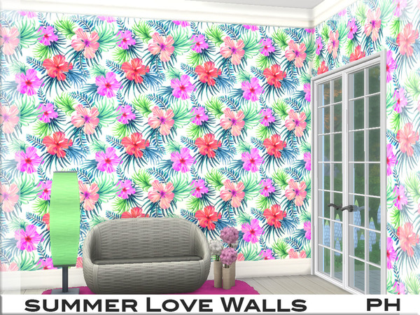 Summer Love Walls 1 by Pinkfizzzzz at TSR image 456 Sims 4 Updates